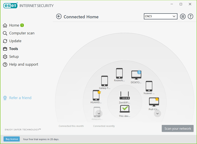 Instrumentul Connected Home Monitor din ESET Internet Security