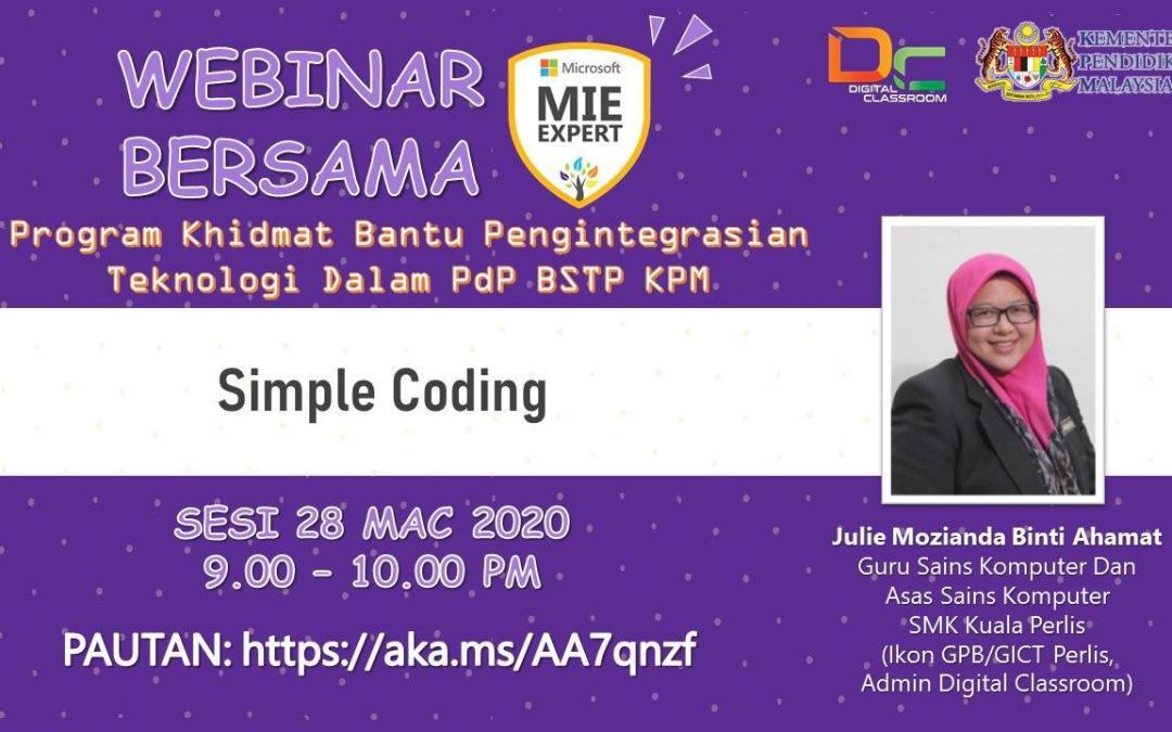 Simple Coding Bersama Julie Mozianda bt Ahamat, Guru Sains dan Asas Sains Komputer, SMK Kuala Perlis