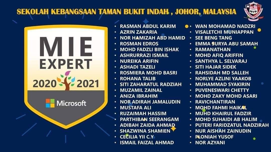 Satu Sekolah Dapat MIE Expert ! Tahniah SK Taman Bukit Indah
