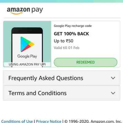 100% cashback on Play store Recharge code