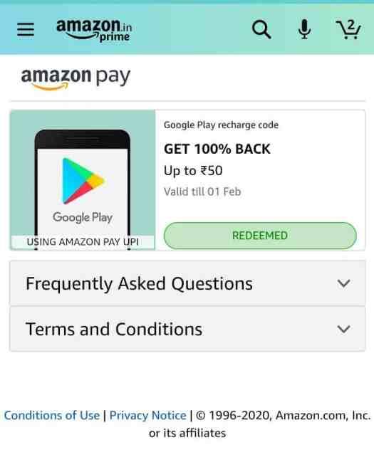 Amazon Pay 100% cashback Offer