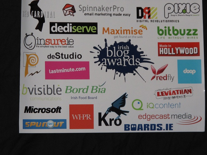 A poster showing all the sponsers of the Irish Blog Awards for 2010.