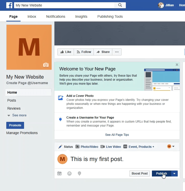 How to start a Facebook Page - publish post