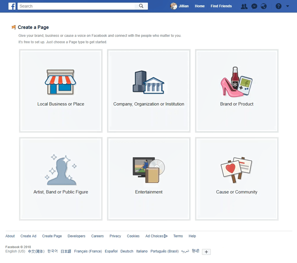 Start a Facebook Page - categories