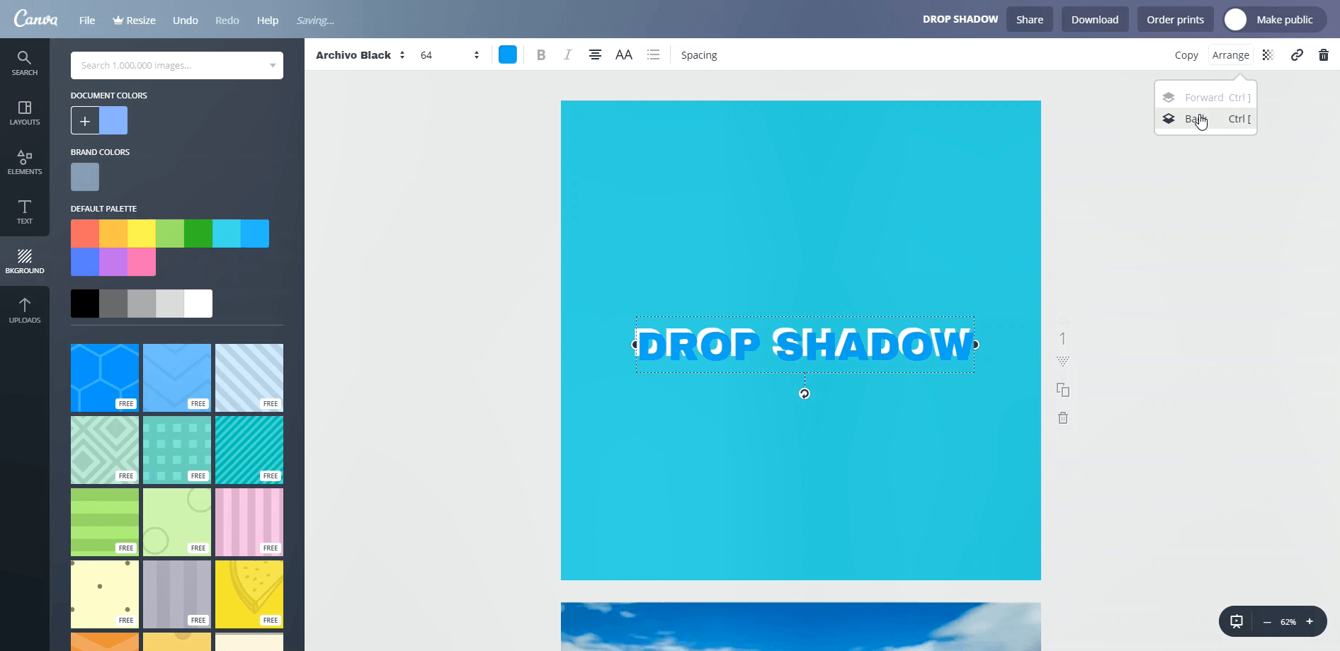 How to add text shadow in Canva