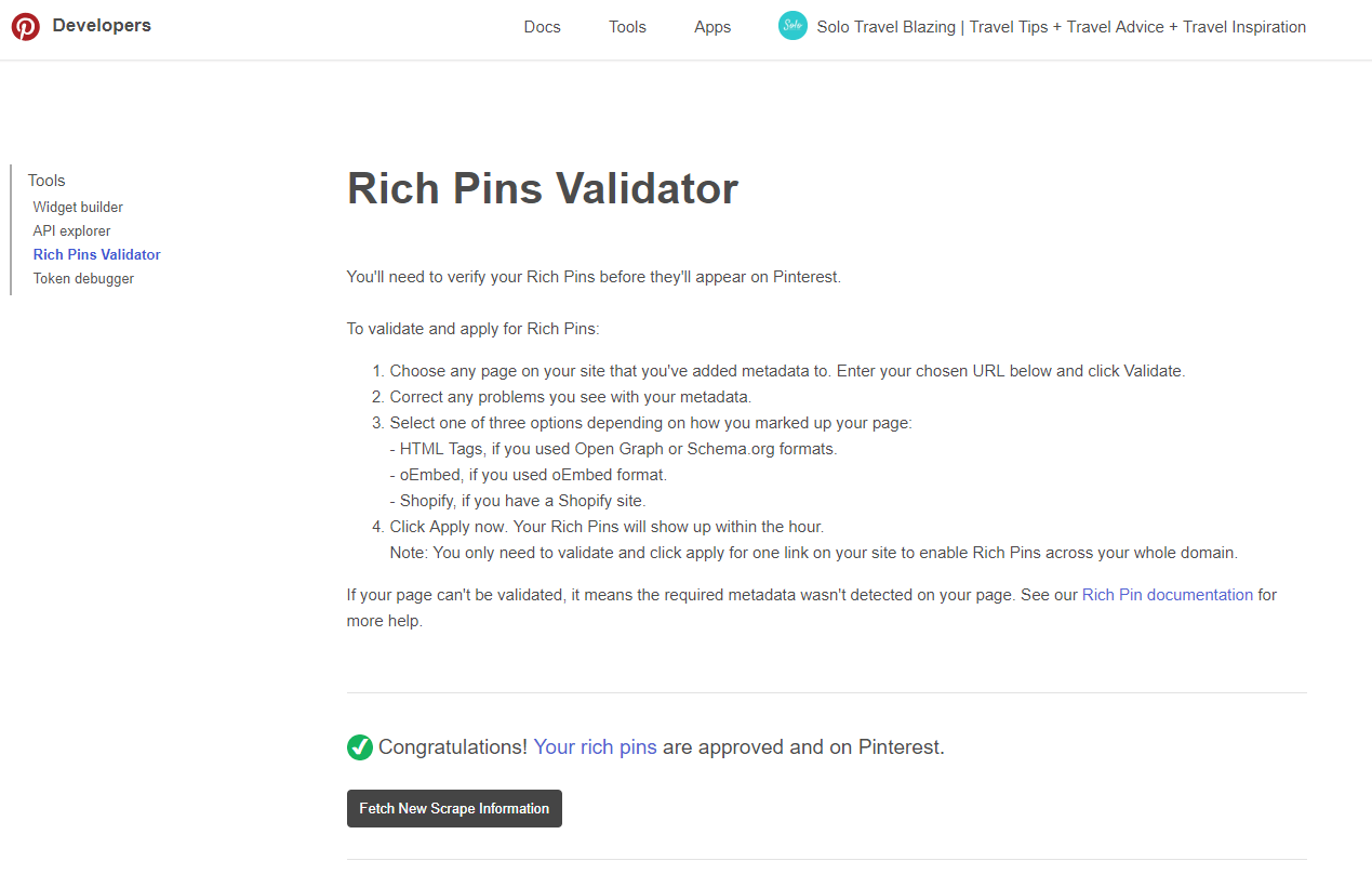 Rich Pins approval confirmation