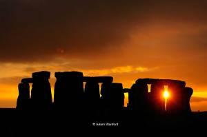 Orange sunset, Stonehenge.