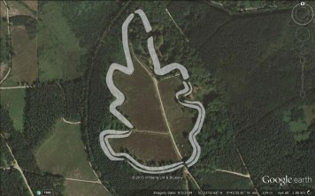 Caesar's Camp plan overlayed in Google Earth.