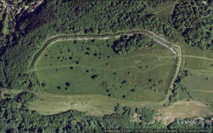 Dolebury Camp, Somerset - from above.