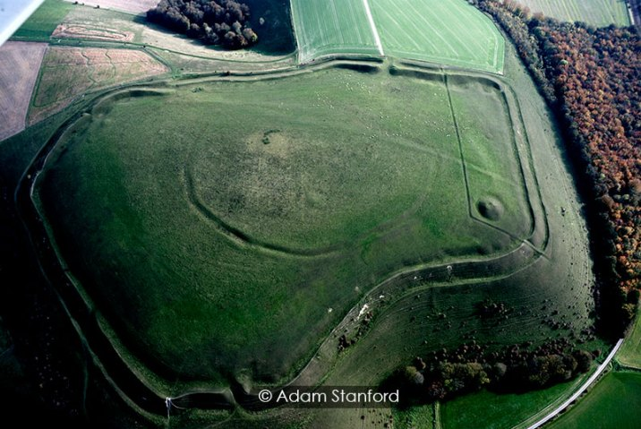 Scratchbury Camp, Wiltshire - aerial view. © Adam Stanford