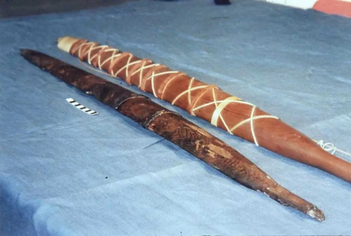 The Meare Heath bows - The original (left) and the reconstruction (right).