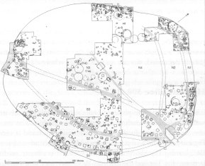 Image 14 - Simplified plan of the Danebury settlement in the Late period, 350/300-100 BC.