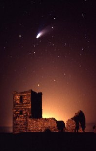 The comet Hale-Bopp overflying the church in Kowlton Church Henge in 1997. Image copyright Phillip Anderton.