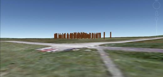 Woodhenge on the horizon.