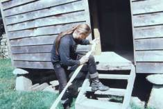 Fig. 5 - Sanding down the bow using sandstone.