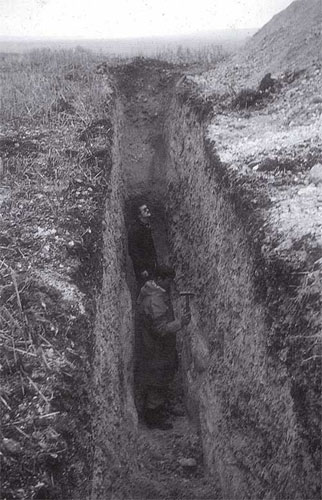 Image 6 - Trench through periglacial naled on Down Farm in 1976. Image © Martin Green.