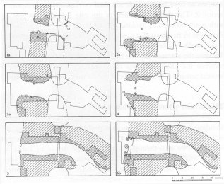 Image 08 - Simplified plans of the successive east gates.