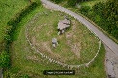Aerial shot of Arthur's Stone Long Barrow. © Aerial-Cam.