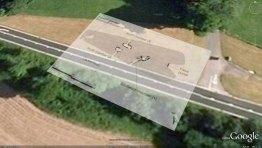Gwernvale Long Barrow plan overlaid in Google Earth.