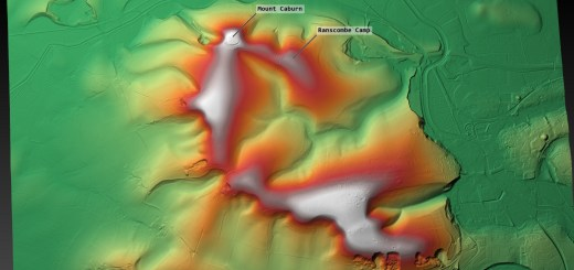 Caburn and Ranscombe in context of the Downs. DTM generated in planlauf/TERRAIN