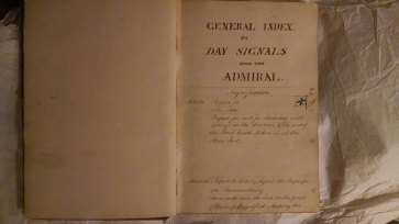 Capt. John Conn Day Signal Book index double page.