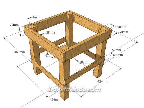 Beekeeping hive stand with dimensions