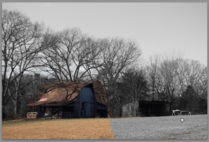 The family barn mid-edit.