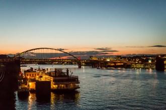 The peaceful view of the Fort Pitt bridge belies the treacherous crossing's frantic lane changes. July 2015.