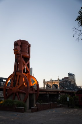 A sculpture sits outside Station Square in front of Smithfield Street Bridge in Pittsburgh, PA. July 2015.