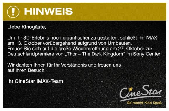 CineStar IMAX Umbau Thor