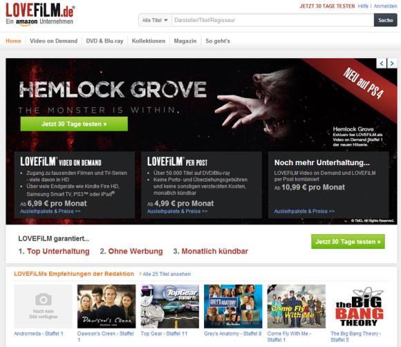 Lovefilm- Startseite