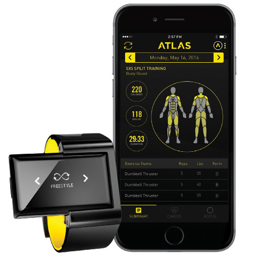 Fig. 4: Machine learning offers an excellent way of implementing compelling services in wearable devices, using personal and sensor data to train algorithms. To take advantage of the technology, however, designers must balance performance with space and power constraints. Atlas Wearables' Wristband fitness tracker offers a good example of the elements that come into play in the tradeoff process. Image courtesy of Atlas Wearables.