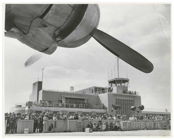 Christening of the Capitaliner Winston-Salem airplane, 1947.