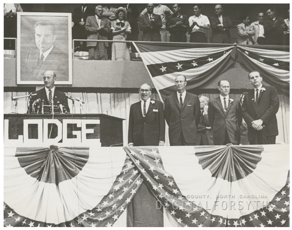 Political campaign rally featuring Henry Cabot Lodge, 1960.