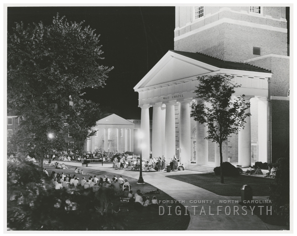 Pops concert in front of Wait Chapel at Wake Forest College, 1958.