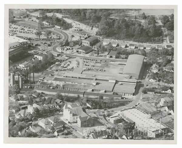 Hanes Dye and Finishing Company aerial, 1954.