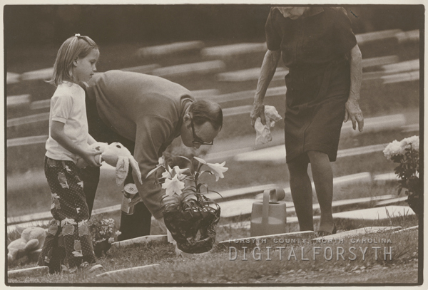 Preparing God's Acre for Easter Sunday services, 1974.