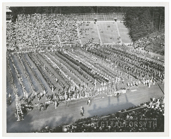 Band Day at the football game of Wake Forest College and University of North Carolina at Chapel Hill, 1954.