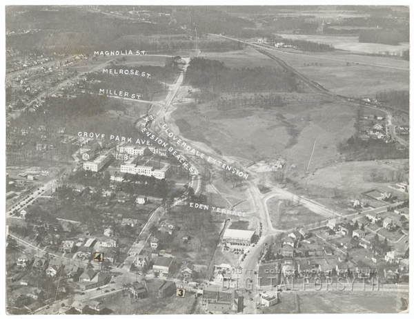 Aerial of the Cloverdale area showing Cloverdale Avenue Extension, Stratford Road, First Street, and streets from Magnolia to Hawthorne Road.