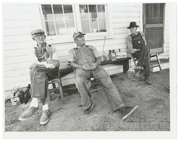 Gib White, D. P. Kiger and Lee Calloway at Kirby's Grocery near King, N. C., 1970.