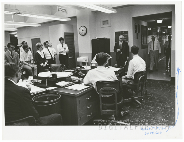 Gordon Gray talking to the staff of the Winston-Salem Journal and Twin-City Sentinel, 1969.