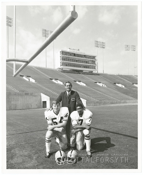 Wake Forest College football coach, Bill Tate, with co-captains Carlyle Pate and Freddie Summers, 1968.