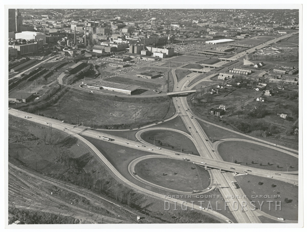 Aerial view of Winston-Salem showing where Interstate 40 and Highway 52 cross.