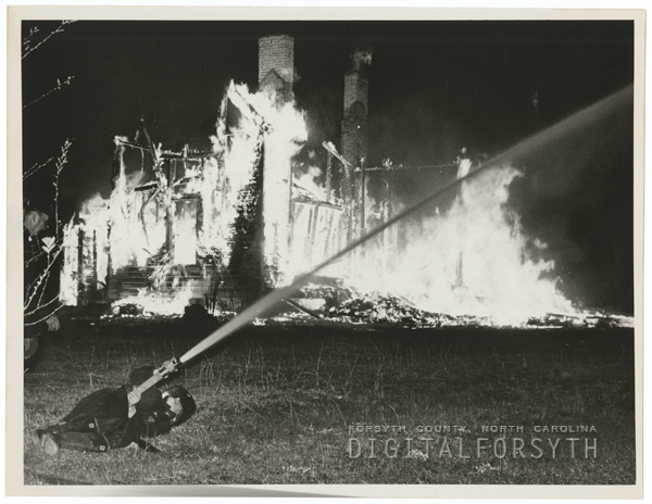 Fire at the home of L. E. Mabe on Old Highway 421, 1964.