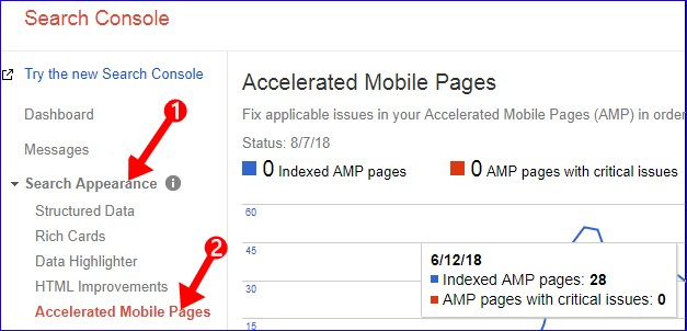 Accelerated Mobile Pages Index Check Status