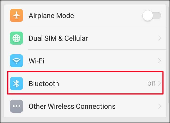 Click Bluetooth Option