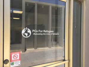 Outside the PCs for Refugees office space in Phoenix, Arizona.