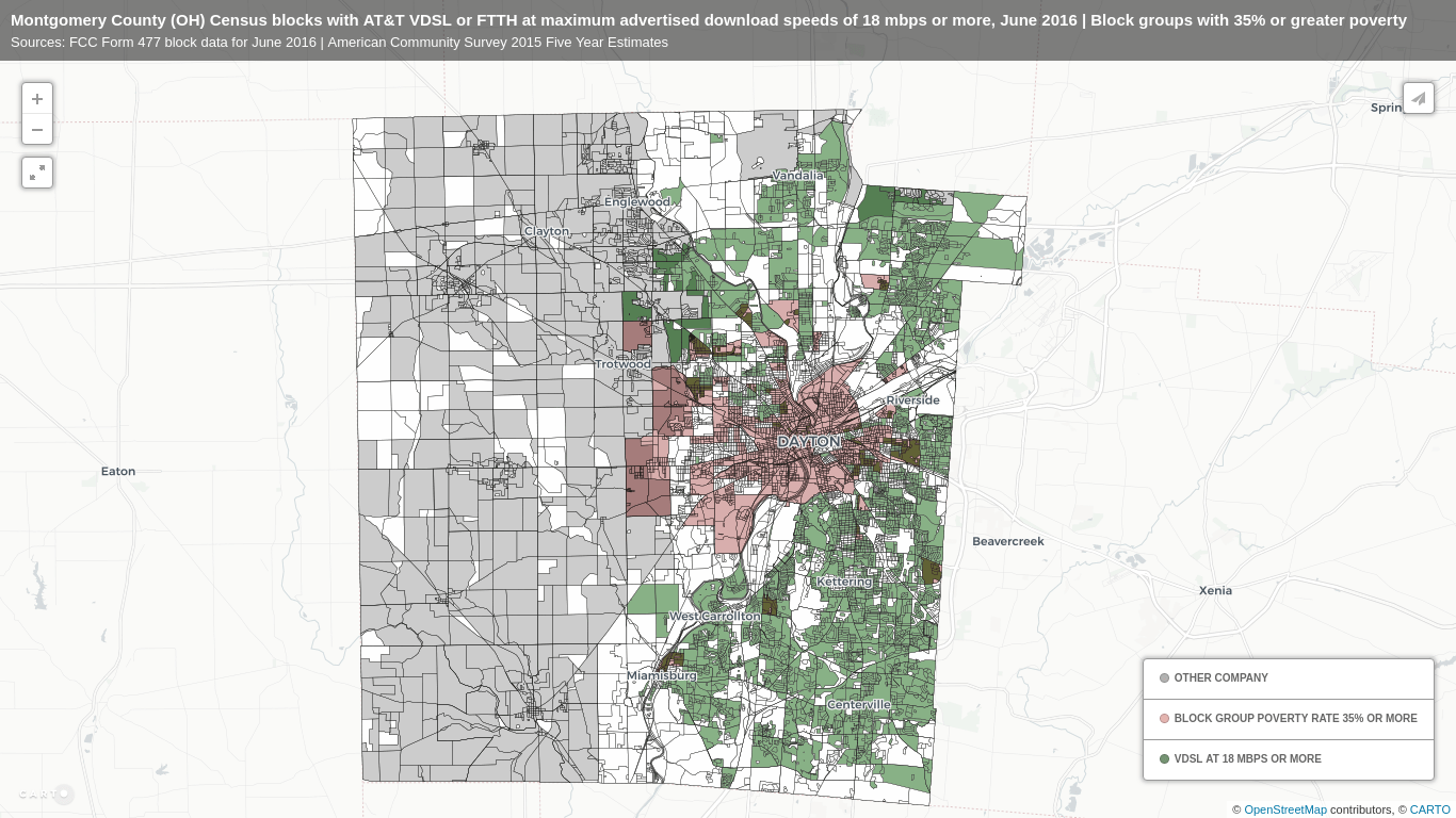 """Map of Montgomery County, OH Census blocks with AT&T """"Fiber"""