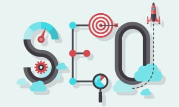 Flat design modern vector illustration concept of SEO word combined from elements and icons which symbolized a success internet searching optimization process. Isolated on stylish colored background