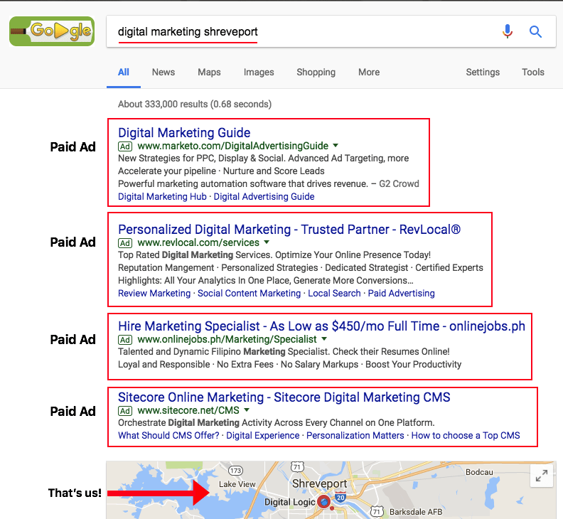 Search Engine Advertising Results page on Google for a Shreveport Search
